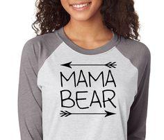 Mama Bear Shirt, Trebled 3/4 Sleeve Raglan Tees, H Gray ,Mom Shirt, fashion funny. Mama Shirt, Bear Shirt