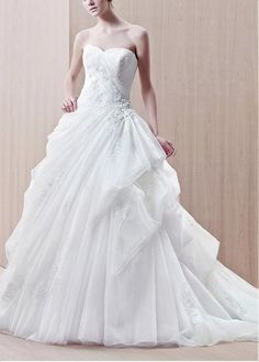 STUNNING ORGANZA SATIN BALL GOWN STRAPLESS NECKLINE BEADED LACE APPLIQUES WEDDING DRESS WITH PICK-UP SKIRT
