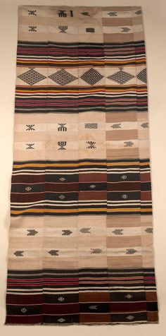 Africa | Blanket from Sierra Leone; probably Mende people | Weft striped, supplementary weft patterns | ca. 1959