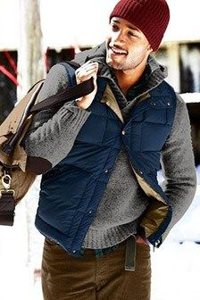 If you're in search of a relaxed casual yet stylish outfit, team a blue quilted gilet with brown corduroy jeans. Rugged Style, Style Men, Men's Style, Blue Style, Mens Outdoor Fashion, Mens Fashion, Guy Fashion, Sharp Dressed Man, Well Dressed