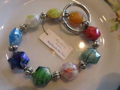 Handmade For You Hands-Free Beaded Bracelet KeyChain Keyring Rainbow Hexagon Lampwork Beads Tibetan Silver Stretch Cord Fits Many Sizes K129 by JewelsHandmadeForYou on Etsy