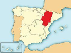 MAPA DE LA SITUACION DE ARAGON EN ESPAÑA.