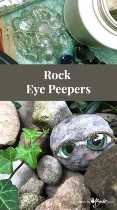 Rock Eye Peepers - Made By Barb - concrete stones that look back at you