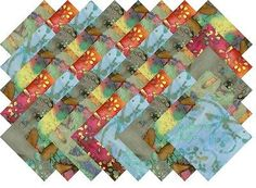 BLEND OF MULTI COLOR VARIETY BATIKS 5 INCH QUILTING FABRIC SQUARES #9