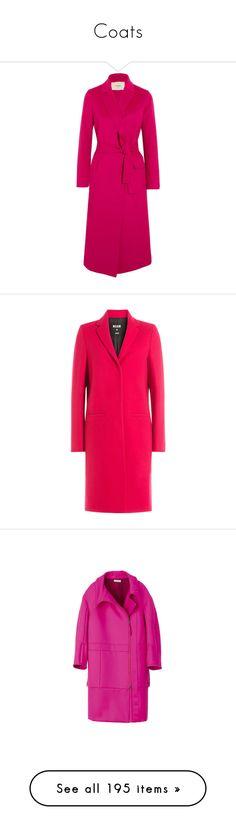 """Coats"" by sakuragirl ❤ liked on Polyvore featuring outerwear, coats, coats & jackets, jackets, fuchsia, pink coats, felt coat, maje coat, wool blend coat and belted coat"