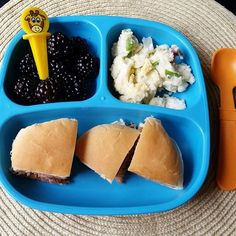 Dinner: blackberries / warm potato salad / pulled pork sandwiches. I knew today would be busy, so I had a pork shoulder in my crockpot all day. Happy Friday, everyone!  @pickease @replayrecycled  #bigbossledweaning #babyledweaning #18months #replayrecycled #toddlermeals #homemadefood #familymealideas #friday #friyay #kids #replaykids #Eeeeats #toddlerbites #yum #yumr #yummy #pickeaseplease #pickease #pickeasefun #funwithfood #dinner #feedfeed #crockpotmeals