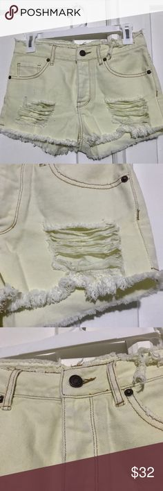 Brandy Melville High Waisted Distressed Shorts Brandy Melville High Waisted Button Fly Distressed Shorts  No flaws in shorts. Brand new without tags. Brand name crossed out to prevent in store returns   Reasonable Offers Considered Brandy Melville Shorts