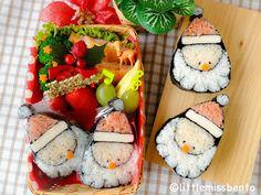 Little Miss Bento  シャリーのかわいいキャラベン: Santa Sushi Art Roll Bento サンタさんの飾り巻き寿司・クリスマスのキャラベン