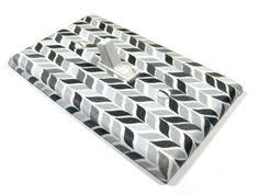 Black White and Gray Herringbone Chevron Light by ModernSwitch, $10.00