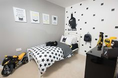 Batman themed bedroom in Palstone Meadow, South Brent- The Weston Show Home. Black, yellow and grey interior design. A new development of 3 & 4 bedroom homes in Dartmoor.