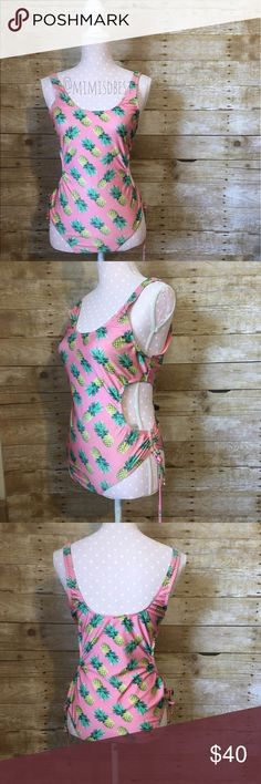 Wildfox pineapple monokini Adorable WildFox pineapple my monokini size has rubbed off but it is size M and can also fit some L. Pre-loved condition but has been sanitized and washed. If you google Wildfox pineapple monokini you can see what it looks like on an actual model. Light piling on bum & between legs but hardly noticeable. Wildfox Swim One Pieces
