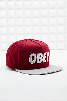Obey Snapback Cap in Burgundy and Grey