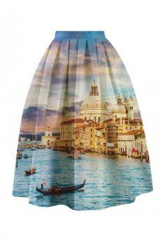 Venetian Life Printed Midi Skirt - Retro, Indie and Unique Fashion