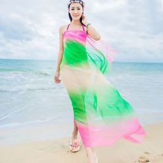 Fashion Summer Scarves Beach Two Tone Chiffon Shawls Scarf Swimwear Bikini Cover Up Hawaiian Sarong Dress High Quality