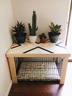 Crate Table - Wood Chevron Art Kennel Cover - modify your basic wire dog crate - LARGE length - bed, blanket, curtain sold separately - Dog Kennel Dog Crate Table, Dog Crate Furniture, Diy Dog Crate, Large Dog Crate, Large Dogs, Small Dogs, Medium Dog Crate, Crate Bed, Medium Dogs