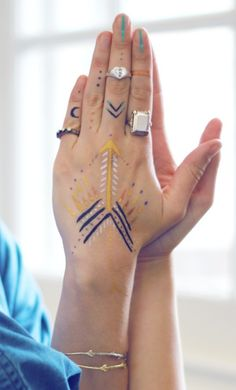 Art on the the hand and rings on the fingers