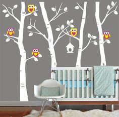 Vinyl Wall Decal cute Owl family Birch Tree decals by emmococo