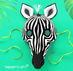 Make and wear your own DIY paper Zebra mask Baby Animals, Funny Animals, Cute Animals, Wild Animals, Amazing Animals, Animals Beautiful, Zebra Mask, Printable Animal Masks, Monkey Mask