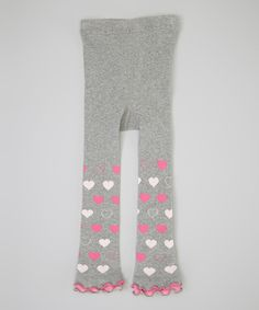 Look what I found on #zulily! Gray & Pink Heart Ruffle Footless Tights - Infant by Naartjie #zulilyfinds