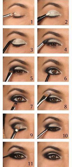 Sparkling Silver Eyeshadow Tutorial For Beginners   12 Colorful Eyeshadow Tutorials For Beginners Like You! by Makeup Tutorials at http://makeuptutorials.com/colorful-eyeshadow-tutorials-for-beginners/: