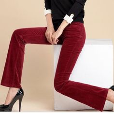 "J.Crew Corduroy Pants First pic of model wearing a similar style of Corduroy.  Last 3 pics are of actual item/color. Made of 99% Cotton and 1% Spandex. BootCut. Color is Burgundy.  Size 2 Regular. The Length is ""39. Rise ""8. Inseam ""31. Laying flat is  ""14.5.  (Waist 29). This item is in Good condition, Authentic and from a Smoke And Pet free home. All Offers through the offer button ONLY. I Will not negotiate Price in the comment section. Thank You😃 J. Crew Pants Boot Cut & Flare"