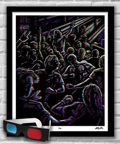 Moshi Moshi - 3D Concert Mosh Pit Illustration Signed limited edition, hand-titled and numbered (1 of 50) Red/blue 3D glasses included  Archival Giclee print on medium weight Epson Ultra Premium Matte paper. 16x20 Poster Print - standard size for easy framing, no mat required.  Original 3D illustration presented in eye-popping 3D with included red/blue glasses. Bring your own soundtrack!  With your new glasses, you can also view the entire Concerto Collection and more in 3D at www.A...