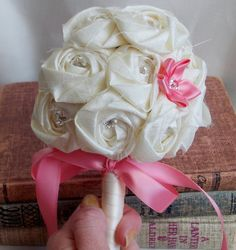 Bouquet Wedding Fabric Flowers Bouquet Pink Ribbon Accents Alternative Bridal Ivory Bouquet Budget Friendly Affordable keepsake on Etsy, $30.00