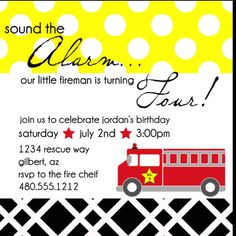 Fire truck party for a boy