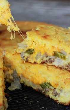 Mexican Cornbread Recipe, mine is similar. One could make a meal outta this, it's sooo good.(try without the hamburger meat) Mexican Dishes, Mexican Food Recipes, Beef Recipes, Cooking Recipes, Mexican Corn Bread Recipe, Quiche, Quesadillas, Mexican Cornbread Casserole, Cornbread Recipes