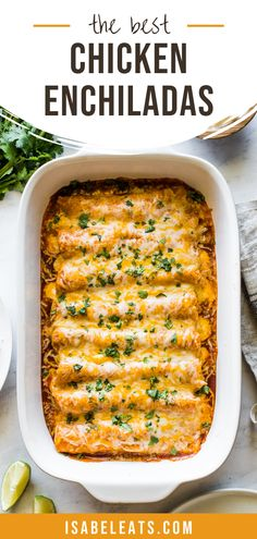 These Easy Chicken Enchiladas make the best Mexican dinner! They& stuffed with shredded chicken and cheese, topped with red enchilada sauce and baked. Sauce Enchilada, Enchilada Recipes, Mexican Dinner Recipes, Easy Chicken Dinner Recipes, Mexican Recipes With Chicken, Healthy Mexican Recipes, Healthy Dinner Recipes, Easy Weeknight Meals, Yummy Easy Dinners