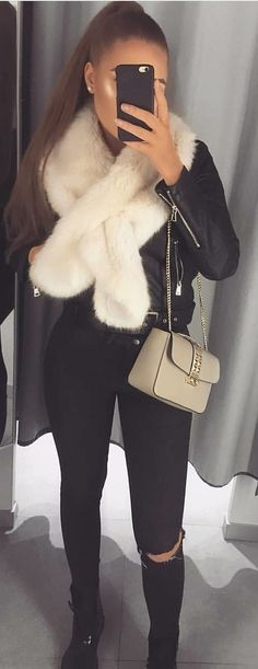#winter #outfits white fur scarf; gray leather sling bag