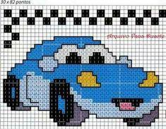 Carro Free Cross Stitch Charts, Cross Stitch For Kids, Cross Stitch Art, Cross Stitch Designs, Cross Stitching, Cross Stitch Patterns, Baby Boy Knitting Patterns, Pixel Crochet, Pony Bead Patterns