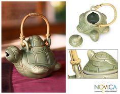 Ceramic teapot, 'Turtle Mom'