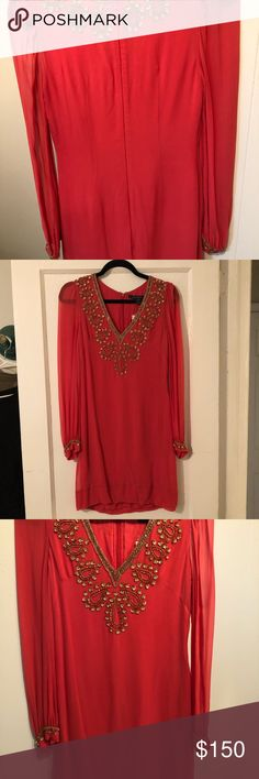 French Connection Posh Pink Cocktail Dress French Connection posh pink beaded cocktail dress. Size 2. Never worn with tags still on! Bought a couple of years ago and tried it on the other night and it was too small. French Connection Dresses Long Sleeve