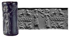 Sello cilindrico mesopotamico, símbolo de estatus, marca personal.También se usa para transacciones comerciales y correspondencia.