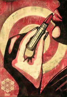 Shepard Fairey Art, Kiss Me Deadly, Illustrations, Illustration Art, Pop Art, Graffiti, Propaganda Art, Street Artists, Urban Art