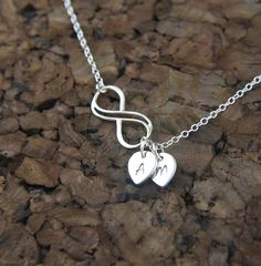 Small double wire infinity necklace with initial charms in sterling silver, eternity necklace, infinity symbol, personalized, custom