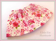 Cream & Pink Butterfly Baby Skirt Size by LittleFaeHandmade