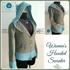 crochet womens hooded sweater size small free