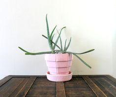 40s pink weaved basket style ceramic mccoy planter