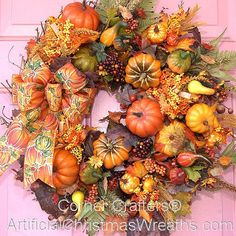 Pumpkins, Pumpkins, Pumpkins Wreath - 2012 - Our Pumpkins, Pumpkins, Pumpkins Wreath is a beautiful arrangement of pumpkins and seasonal colors finished with a lovely bow. Thanksgiving Wreaths, Autumn Wreaths, Thanksgiving Decorations, Holiday Wreaths, Wreath Fall, Halloween Decorations, Autumn Crafts, Holiday Crafts, Holiday Fun