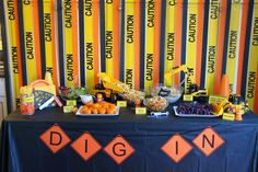 Construction Birthday Party Food Table, Dig In Banner