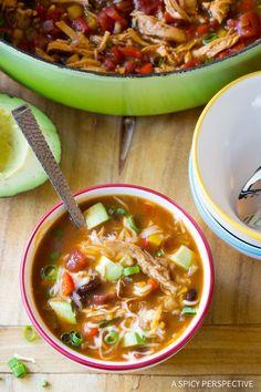 "Cozy ""Skinny"" Chicken Fajita Soup Recipe - Low Fat, Gluten Free, & Low Carb Option!"