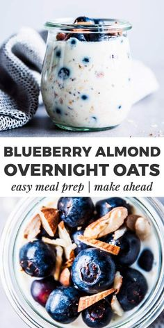 Almond Blueberry Overnight Oats are an easy, healthy breakfast you can prep the night before. It will turn into a pot of creamy and delicious oats - your kids will love it! | #recipe #easyrecipes #breakfast #cleaneating #healthy #healthyrecipes #healthybreakfast #healthyfood #kidfriendly #mealprep