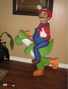 This is the coolest Mario-Yoshi costume ever!!!  I want one..uh, I mean, I want to get my kids one...  :-)