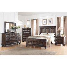 Walnut Brown Classic Traditional 6 Piece Cal-King Bedroom Set - Sevilla