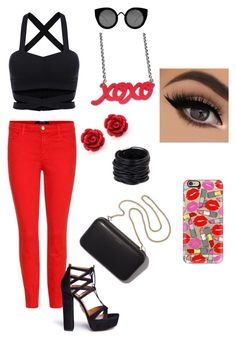 """""""#party"""" by adna-00 ❤ liked on Polyvore featuring J Brand, Aquazzura, Saachi, Quay, Casetify and Clare V."""