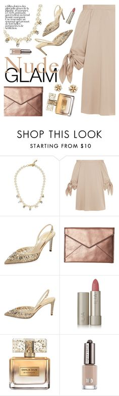 """""""Nude Glam"""" by ivansyd ❤ liked on Polyvore featuring Joomi Lim, TIBI, René Caovilla, Rebecca Minkoff, Rene, Ilia, Givenchy, Urban Decay, Miriam Haskell and longsleeve"""