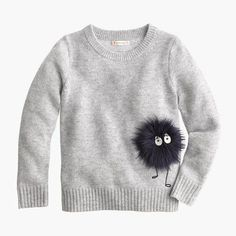Shop J.Crew for the Girls' Max the Monster wool sweater. Find the best selection of Girls Shirts & Tops available in-stores and online. Baby Girl Fashion, Fashion Kids, Diy Fashion, Baby Outfits, Sweater Outfits, Kids Outfits, Baby Clothes Shops, Diy Clothes, T Shirt Painting
