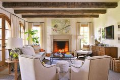 Adding faux beams to a simple room makes a big change in the warmth and coziness where everyone loves to hangout. Formal Living Rooms, Living Spaces, Love Your Home, Living Room Inspiration, Home Renovation, Great Rooms, Interior Design, Arched Doors, Faux Beams